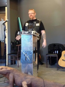 Pastor Kevin with a new pulpit.